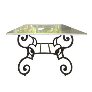 Honed Carrara Marble & Iron Dining Table