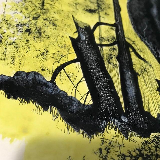 Vintage Ink & Watercolor Black Bear Painting - Image 7 of 10
