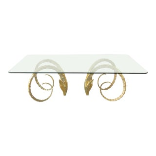 Vintage Solid Brass Ibex Dining Table in the Style of Alain Chervet