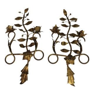 Gold Leaf Sconces - A Pair