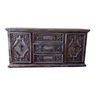 Mid-Century Distressed Rococo Style Credenza, Dresser
