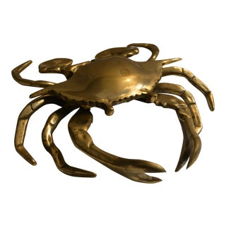 Vintage Lidded Brass Crab Ashtray