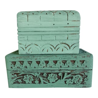Carved Wood Decorative Boxes - A Pair