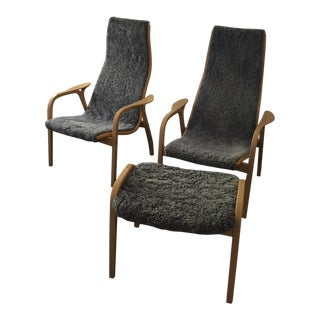 Swedese Swedish Lamino Lounge Chairs - Set of 3
