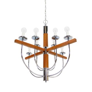 Moe Light Mid-Century Teak & Chrome Chandelier