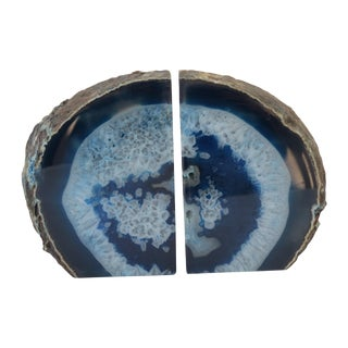 Blue Geode Bookends - A Pair