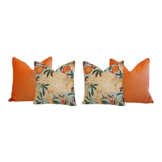 Tangerine Orange Velvet & Tropical Parrot & Pomegranate Feather/Down Pillows - Set of 4