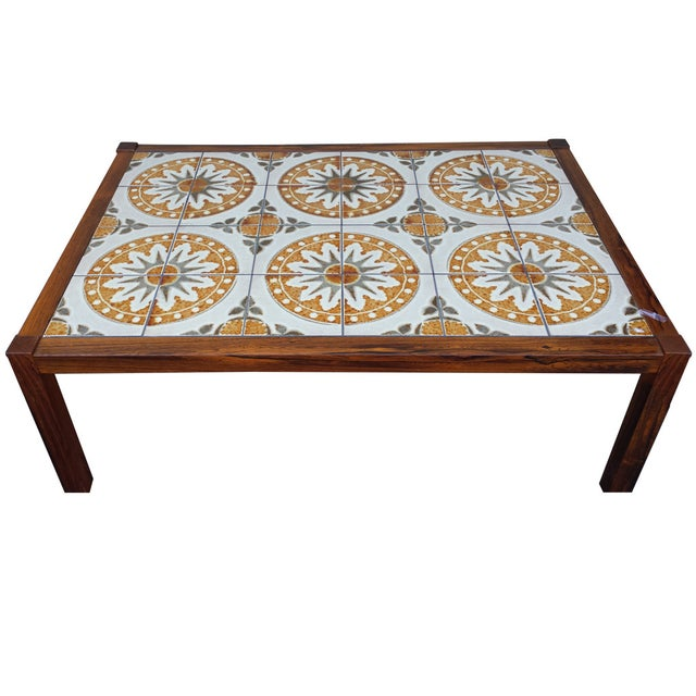 mid century tile top coffee table chairish. Black Bedroom Furniture Sets. Home Design Ideas