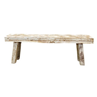 Rustic Whitewashed Bench