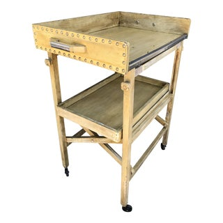 Antique Wooden Folding Two-Tiered Tea Trolley/Bar Cart