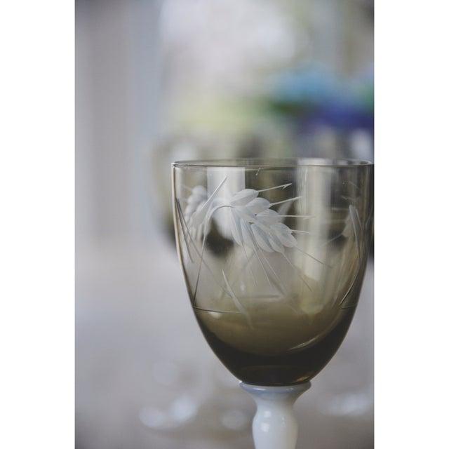 Vintage Smoke Grey Goblets - Set of 9 - Image 8 of 9