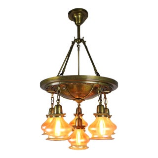 Decorated Pan Fixture with Art Glass Shades