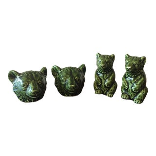 Mid Century Grizzly Bear Green Salt & Pepper Shakers - Set of 4