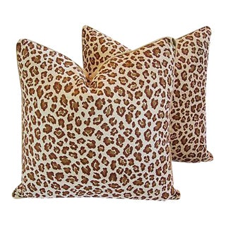 "24"" Custom Tailored Safari Leopard Velvet Feather/Down Pillows - Pair"