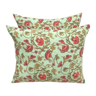 Vintage Printed Cotton Pillows - A Pair
