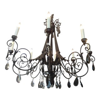 Eight Arm Black Iron Chandelier