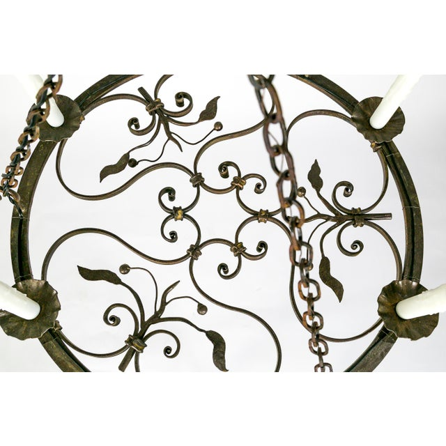 Hand Wrought Flat Leaf and Scroll Chandelier - Image 5 of 8