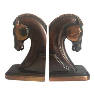 Machine Age Art Deco Trojan Horse Bookends - A Pair