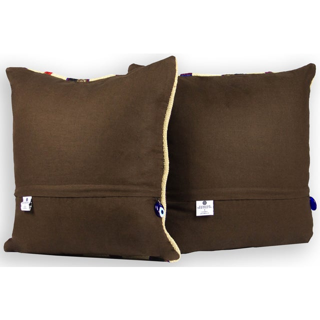 Image of Handwoven Vintage Kilim Pillows - A Pair