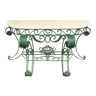 Italian Regency Style Green Wrought Iron Marble Top Console Table