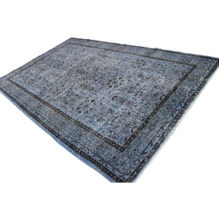 "Vintage Turkish Blue Overdyed Rug - 6'4"" X 10'1"""