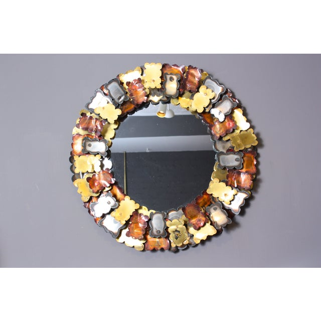 Image of 1970s Curtis Jere Style Metal Sculptural Mirror