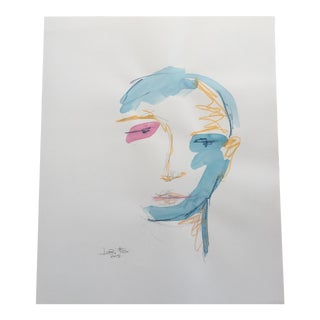 Original Abstract Watercolor Painting of Face