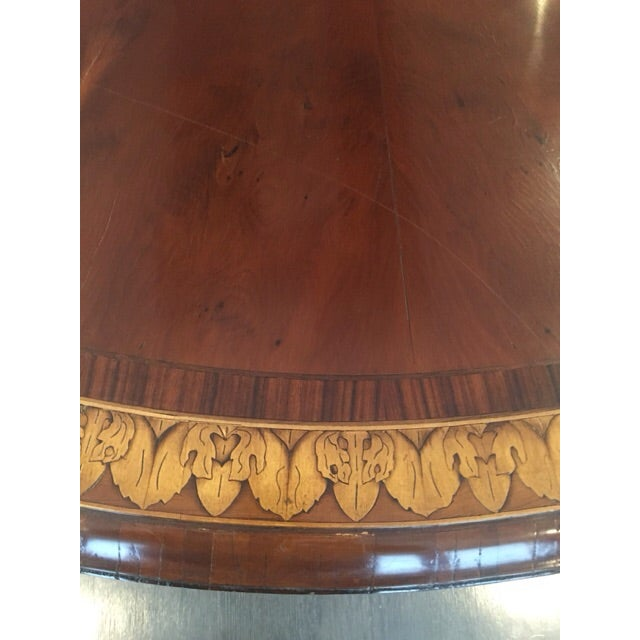 Image of Round to Oval Inlaid Oak Extension Dining Table