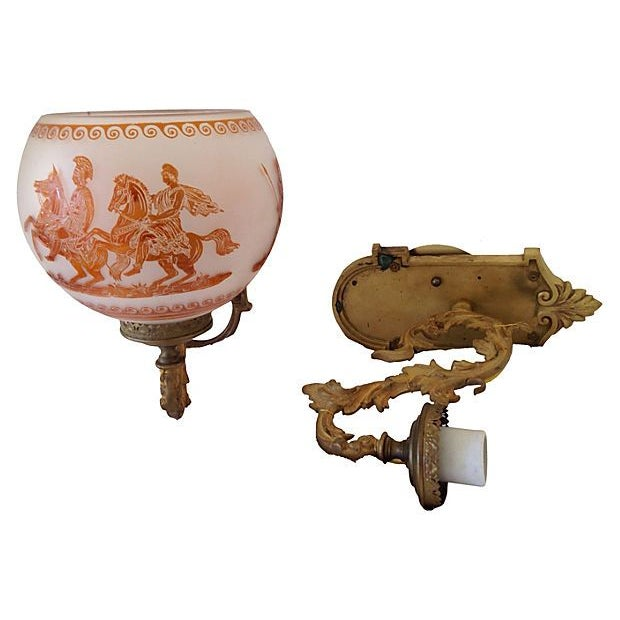 Image of Antique French Hand-Painted Sconces - A Pair