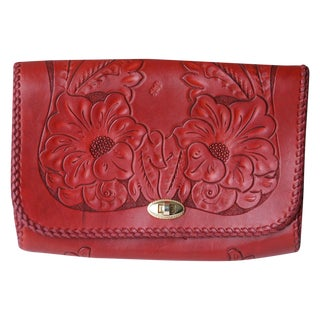 Red Tooled Leather Clutch