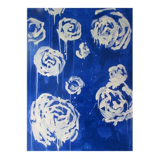 "Megan Coonelly ""White Roses on Cobalt"" Painting"