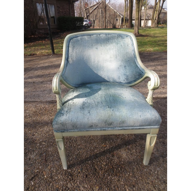 Vintage 1950s Blue Velvet French Chairs - A Pair - Image 6 of 7