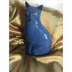 Image of Vintage Blue Stoneware Cat
