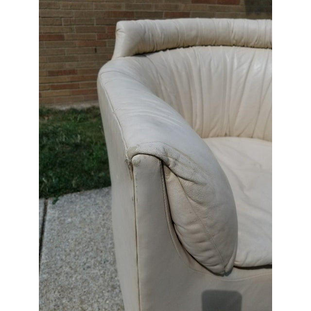 John Saladino for Baker Leather Swivel Lounge Chair - Image 8 of 11