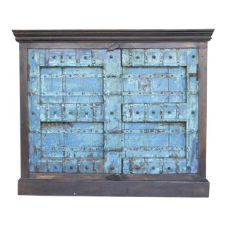 Aged Turquoise Old Door Cabinet