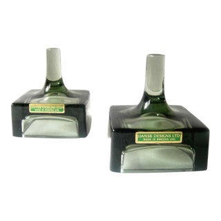 Dansk Green Glass Candle Holders - A Pair