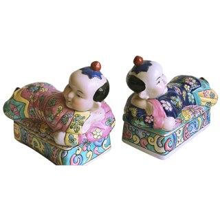 Chinese Famille Rose Pillow Boxes - A Pair