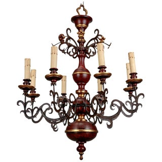 Italian Wood and Scrolled Iron Eight Light Chandelier