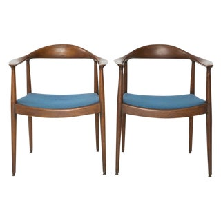 Circa 1960 Blue Danish Modern Chairs - A Pair