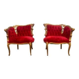 Gold Gilt Parlor Chairs - A Pair