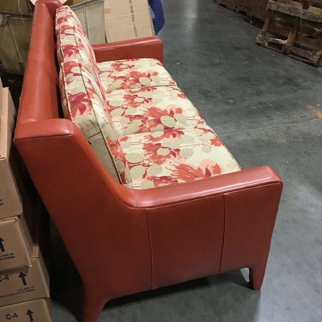 Leathercraft Orange Floral Sofa - Image 6 of 6