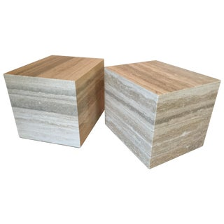 Travertine Marble Cube Side Tables - Pair