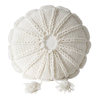 1970's Vintage Knit Macrame Tassled Round Pillow