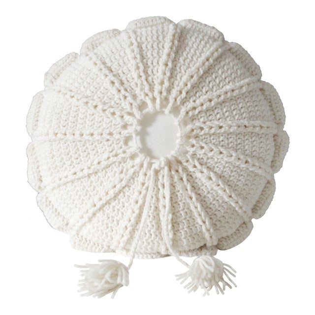 Image of 1970's Vintage Knit Macrame Tassled Round Pillow