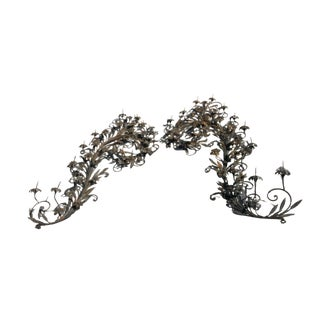 Scrolling Iron Wall Sconce Prickets - a Pair