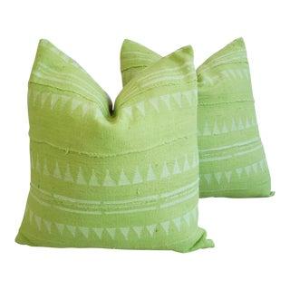 Green & Cream Mali Tribal Mud Cloth Pillows - A Pair