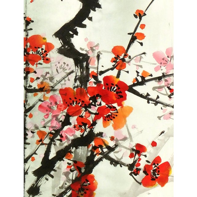 Chinese Red Plum Blossoms Silk Serigraph - Image 2 of 5