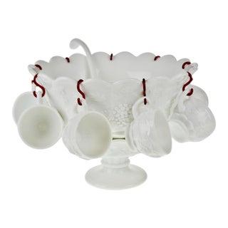 Vintage Westmoreland No. 1881 Paneled Grape Milk Glass Punch Bowl Set