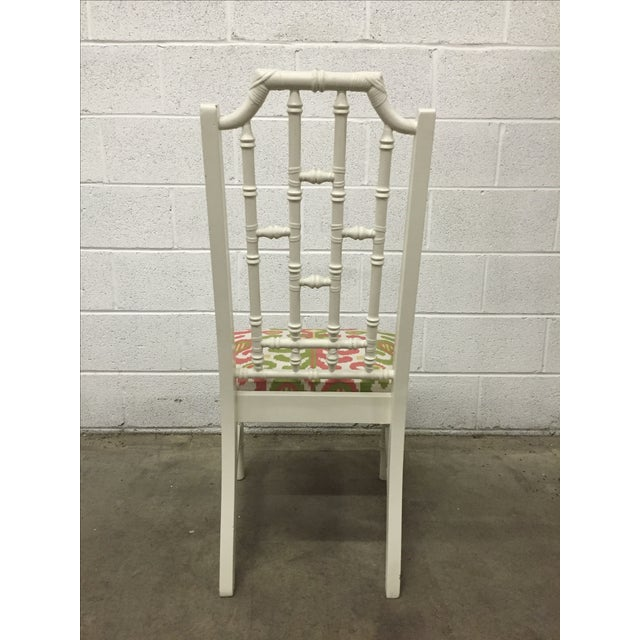 White Bamboo Chair W/ Duralee Pink & Green Seat - Image 4 of 8