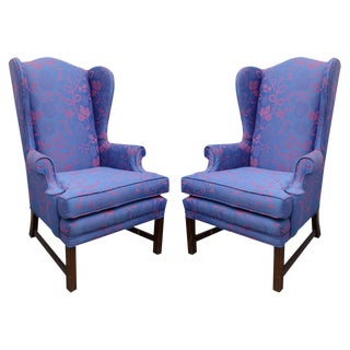 Vintage Pair of Wingbacks Restyled by Todd W. G. Corder, Originally 1970s, USA